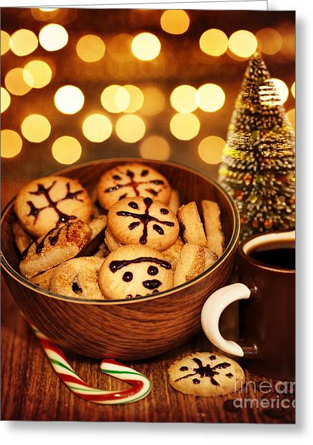 Night Cafe Greeting Cards - Christmas gingerbread Greeting Card by Anna Omelchenko