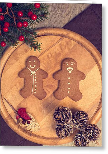 Cloth Greeting Cards - Christmas Gingerbread Greeting Card by Amanda And Christopher Elwell