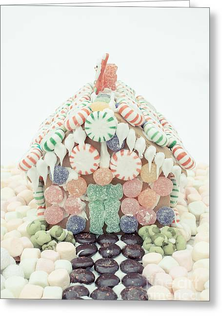 Kids Party Greeting Cards - Christmas Gingerbread House Greeting Card by Edward Fielding