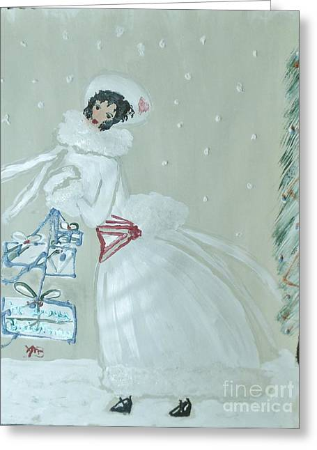 Ent Paintings Greeting Cards - Christmas Girl in White Coat Greeting Card by Marie Bulger