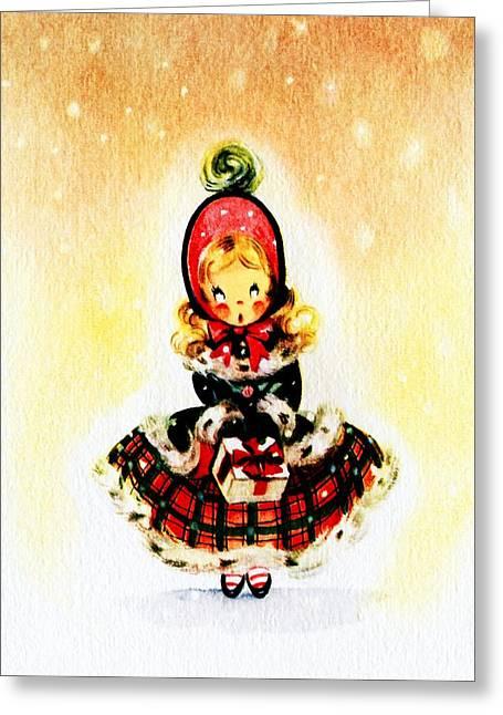Christmas Greeting Greeting Cards - Christmas Girl Greeting Card by Munir Alawi