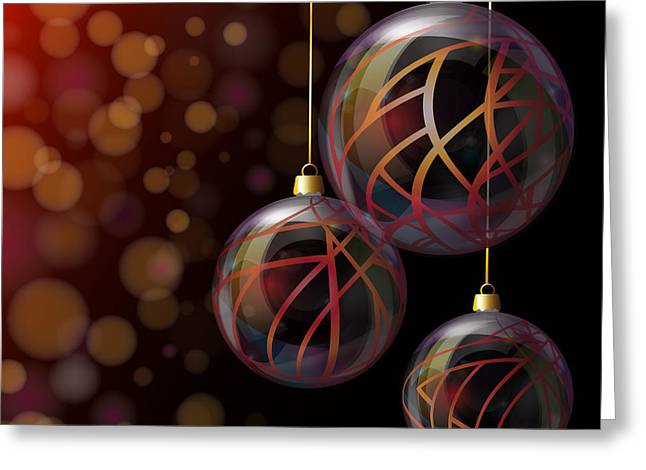 Purple Abstract Greeting Cards - Christmas glass baubles Greeting Card by Jane Rix