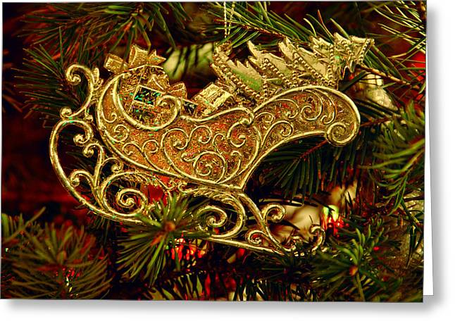 Christmas Posters Photographs Greeting Cards - Christmas Gold Ornament Greeting Card by Angie Tirado