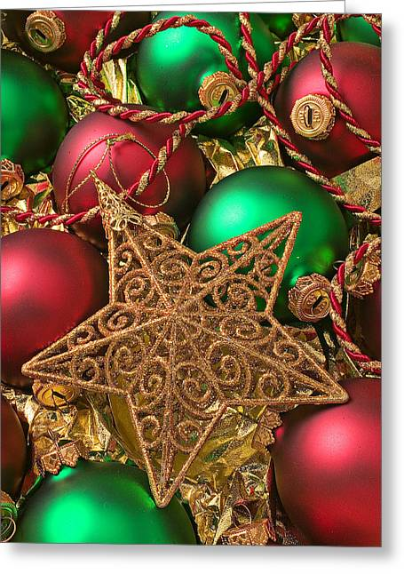 Spheres Greeting Cards - Christmas gold star Greeting Card by Garry Gay