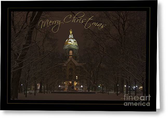 Indiana Christmas Greeting Cards - Christmas Greeting Card - Notre Dame Golden Dome In Night Sky And Snow Greeting Card by John Stephens