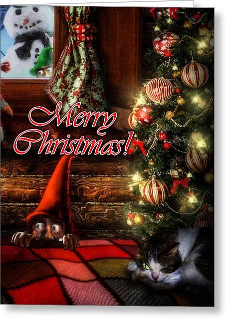 Cat Christmas Cards Greeting Cards - Christmas greeting card VIII Greeting Card by Alessandro Della Pietra