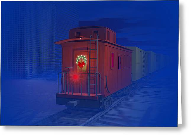 Caboose Greeting Cards - Christmas greetings Greeting Card by Carol and Mike Werner