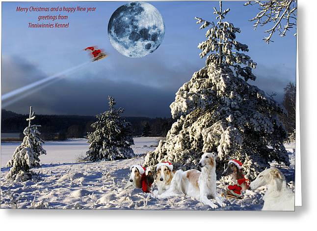 Sight Hound Greeting Cards - Christmas greetings from Borzoi sight-hounds Greeting Card by Christian Lagereek