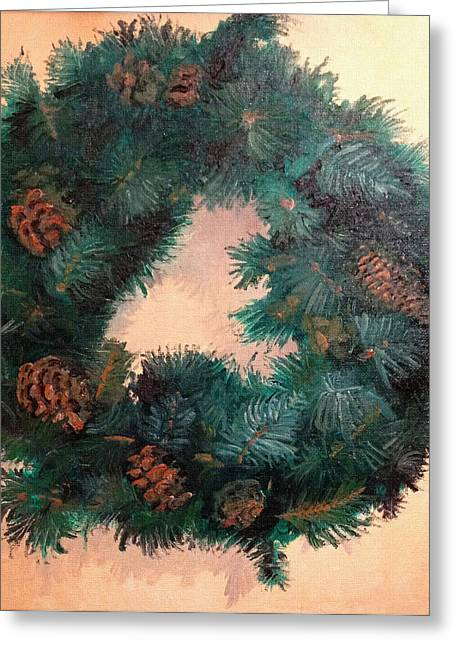 Pine Cones Paintings Greeting Cards - Christmas Holiday Wreath Greeting Card by Arch