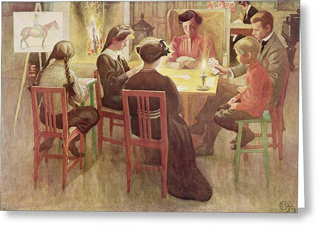 Concentration Greeting Cards - Christmas Holidays, Pub. In Lasst Licht Greeting Card by Carl Larsson