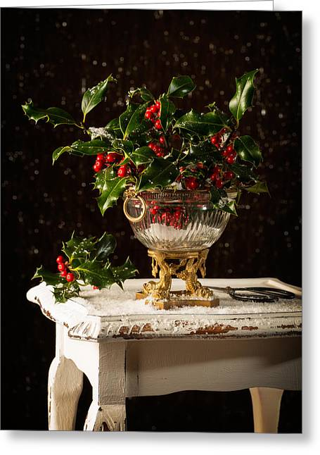 Wooden Table Greeting Cards - Christmas Holly Greeting Card by Amanda And Christopher Elwell