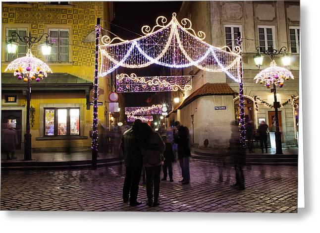 Old Quarter Greeting Cards - Christmas Illumination in the Old Town of Warsaw Greeting Card by Artur Bogacki