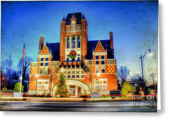 Night Lamp Greeting Cards - Christmas in Bardstown Kentucky Greeting Card by Darren Fisher