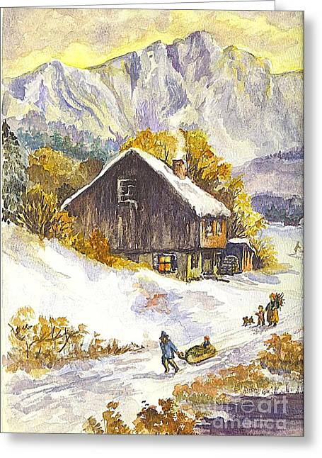 Family Time Drawings Greeting Cards - A Winter Wonderland Part 1 Greeting Card by Carol Wisniewski