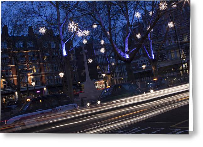 Christmas In Chelsea Greeting Card by Mythic Ink