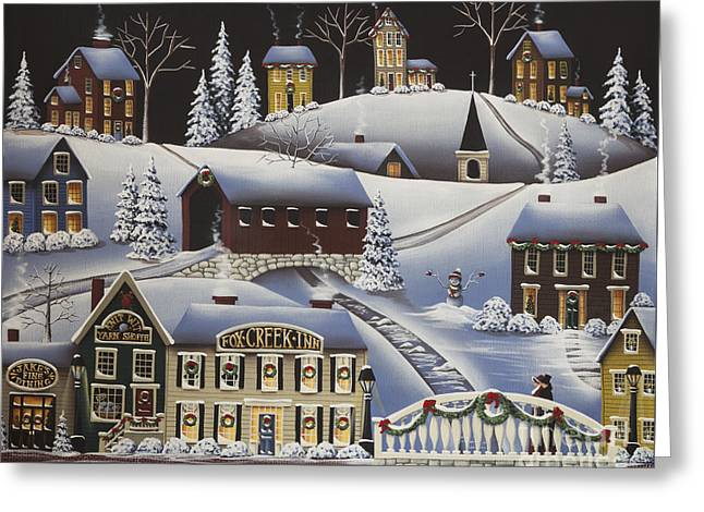 Covered Bridge Paintings Greeting Cards - Christmas in Fox Creek Village Greeting Card by Catherine Holman