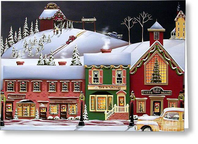 Primitives Greeting Cards - Christmas in Holly Ridge Greeting Card by Catherine Holman