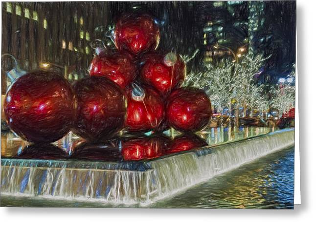 Iconic Greeting Cards - Christmas in New York City Greeting Card by Susan Candelario