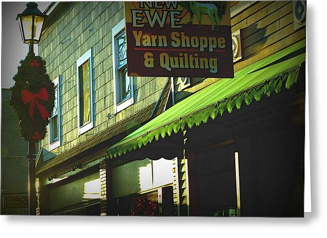 Small Towns Drawings Greeting Cards - Christmas In Newaygo Greeting Card by Rosemarie E Seppala