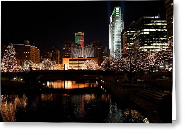 Omaha Nebraska Greeting Cards - Christmas in Omaha Greeting Card by Daniel  Taylor