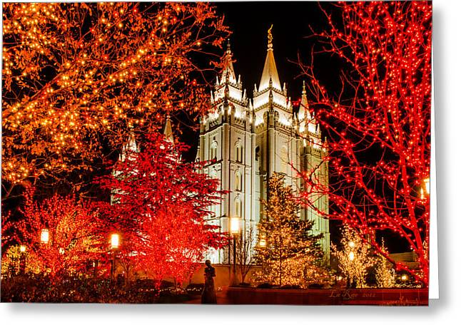 Salt Lake Temple Greeting Cards - Christmas in Red Greeting Card by La Rae  Roberts