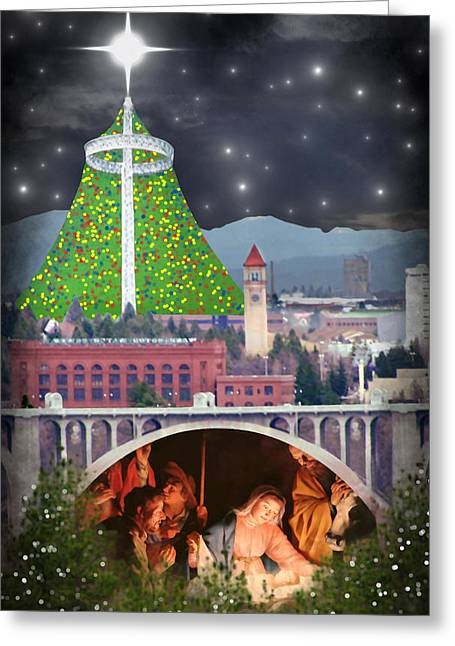 Recently Sold -  - Star Of Bethlehem Greeting Cards - Christmas In Spokane Greeting Card by Mark Armstrong