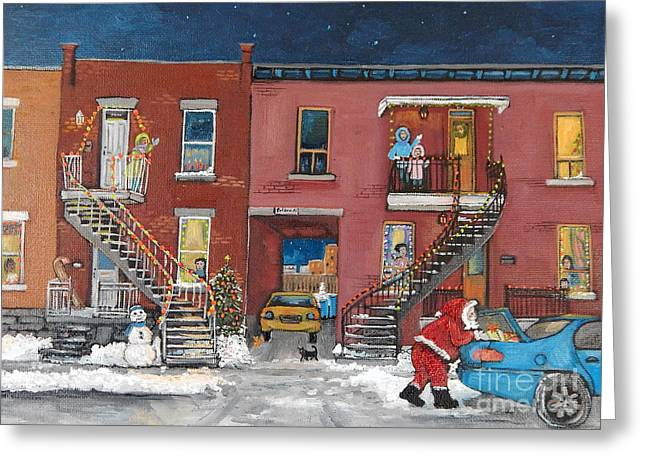 Quebec Scenes Greeting Cards - Christmas in the City Greeting Card by Reb Frost