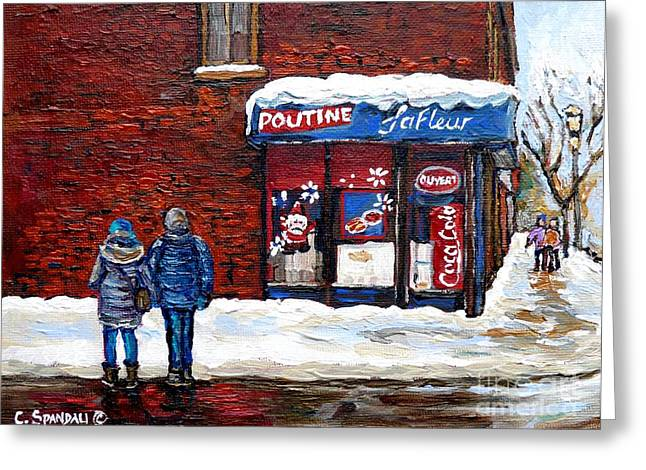 Verdun Food Greeting Cards - Christmas In The City Santa Visits Rue Wellington Verdun Poutine Lafleur Montreal Winter Scene Art Greeting Card by Carole Spandau