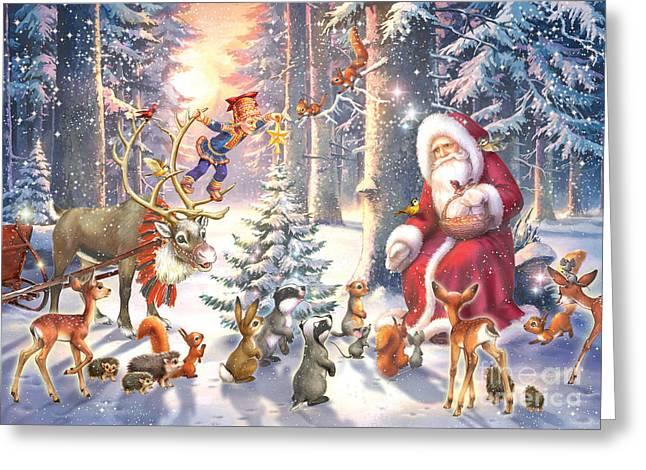 Horizontal Digital Art Greeting Cards - Christmas in the Forest Greeting Card by Zorina Baldescu