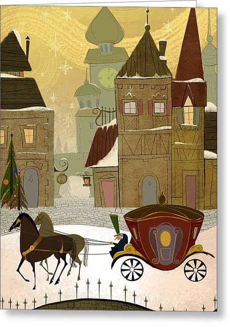 Carriage Digital Art Greeting Cards - Christmas in the old world Greeting Card by Kristina Vardazaryan