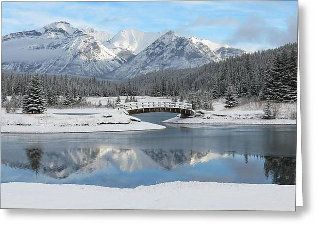 Christmas In The Rockies Greeting Card by Ramona Johnston