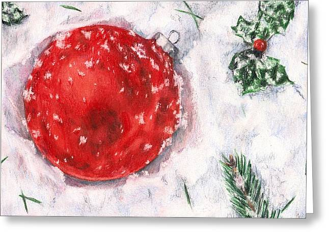 Holly Berry Still Life Greeting Cards - Christmas in the Snow Greeting Card by Shana Rowe
