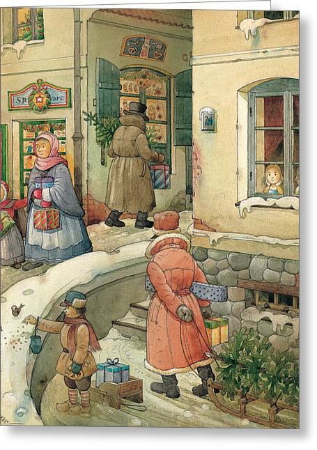 Christmas Greeting Drawings Greeting Cards - Christmas in the Town Greeting Card by Kestutis Kasparavicius