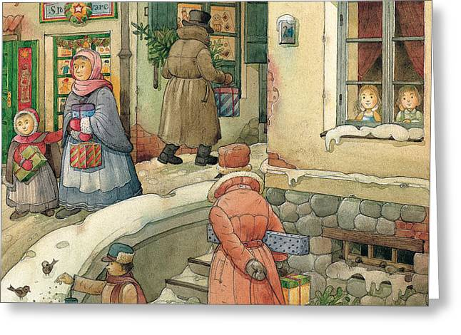 Christmas in the Town Greeting Card by Kestutis Kasparavicius