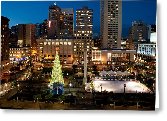 Recently Sold -  - Union Square Greeting Cards - Christmas in Union Square Greeting Card by Jorge Guerzon