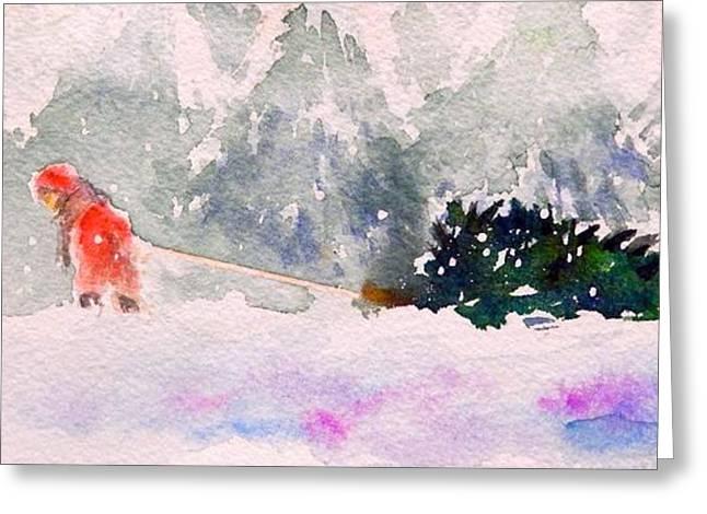 Snow Tree Prints Greeting Cards - Christmas is Coming Greeting Card by Yoshiko Mishina