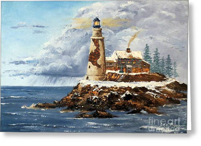 Maine Lighthouses Greeting Cards - Christmas Island Greeting Card by Lee Piper