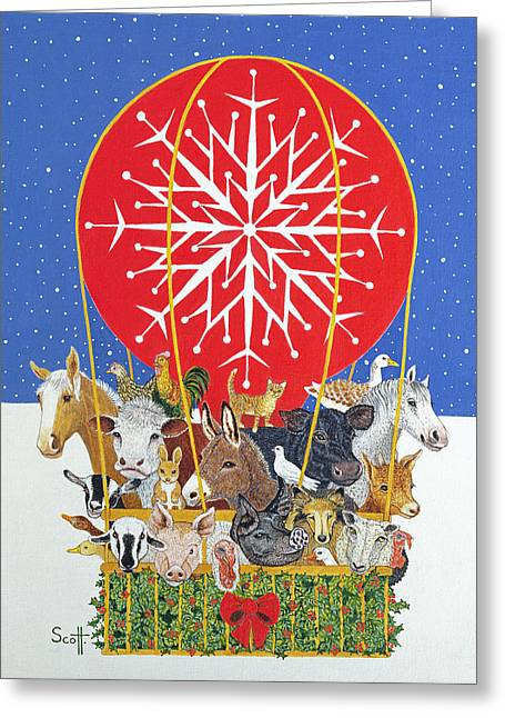 Christmas Journey Oil On Canvas Greeting Card by Pat Scott