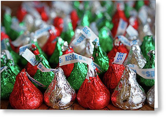 Sweet Kiss Greeting Cards - Christmas Kisses Greeting Card by Cricket Hackmann