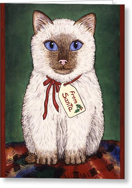 Kitten Greeting Cards - Christmas Kitten Greeting Card by Linda Mears