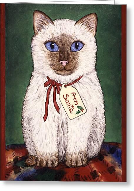 Kitten Greeting Cards - Christmas Kitten Greeting Card by Linda Mears