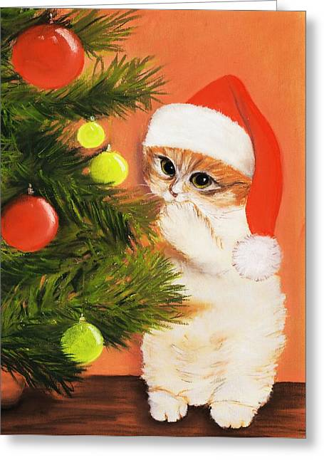 Kid Pastels Greeting Cards - Christmas Kitty Greeting Card by Anastasiya Malakhova