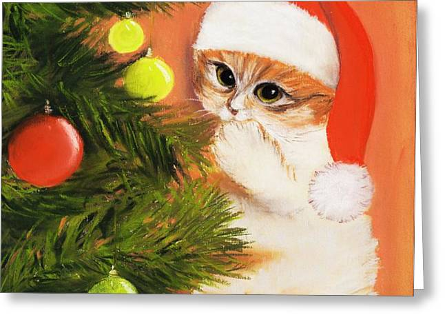 Christmas Kitty Greeting Card by Anastasiya Malakhova