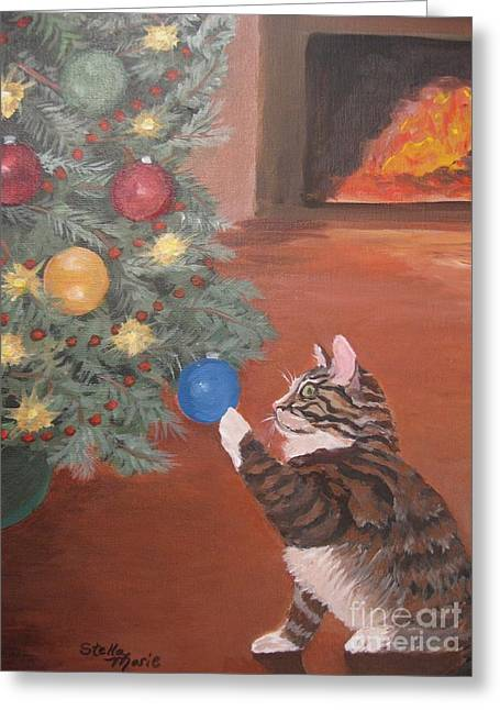 Stella Sherman Greeting Cards - Christmas Kitty Cat Greeting Card by Stella Sherman