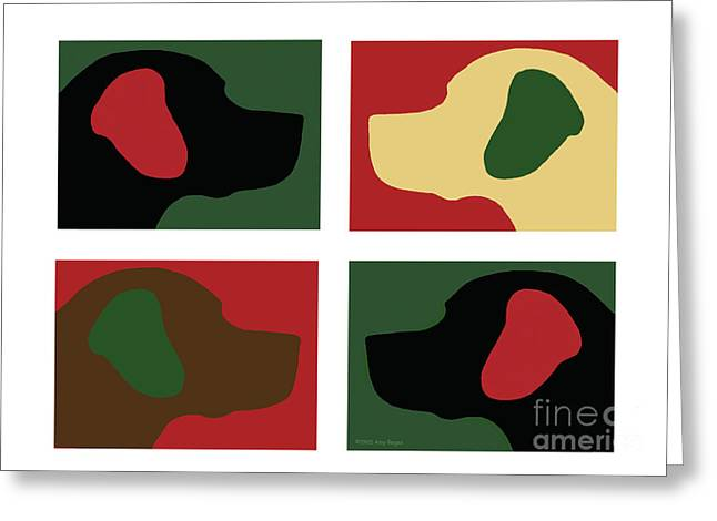 Chocolate Lab Digital Art Greeting Cards - Christmas Labrador Dog Heads Greeting Card by Amy Reges