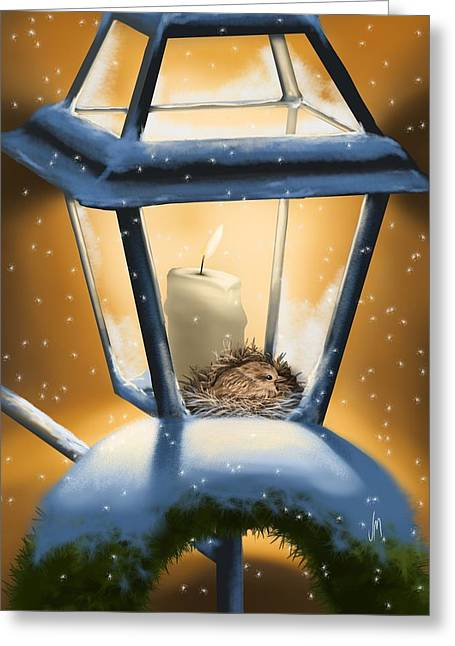 Christmas Art Greeting Cards - Christmas light Greeting Card by Veronica Minozzi