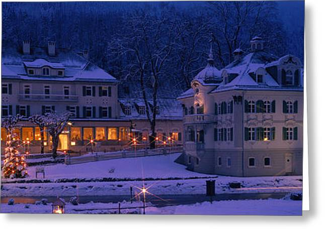 Snowy Evening Greeting Cards - Christmas Lights, Hohen-schwangau Greeting Card by Panoramic Images