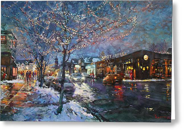 Aves Greeting Cards - Christmas Lights in Elmwood Ave  Greeting Card by Ylli Haruni