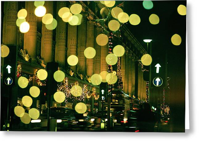Department Stores Greeting Cards - Christmas Lights in Oxford Streeet Greeting Card by Unknown Photographer