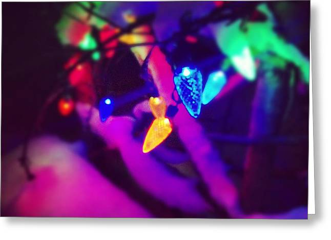 Christmas Lights Photographs Greeting Cards - Christmas lights in snow Greeting Card by Ty Helbach